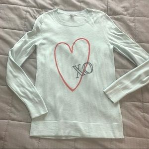 Halogen Light Blue Heart Graphic Sweater XS
